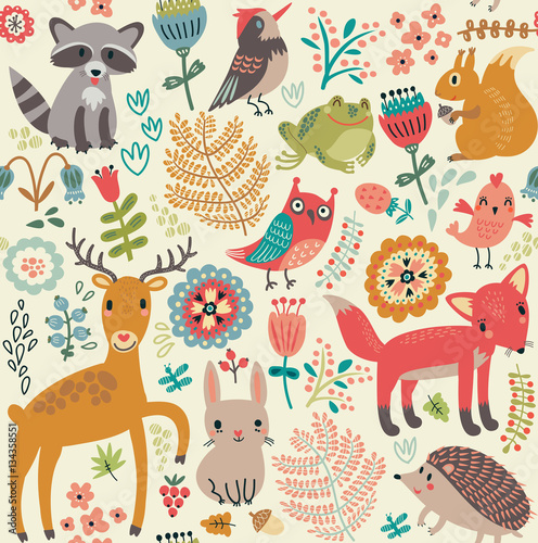 Cotton fabric Seamless pattern, animals in the forest
