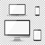 Realistic device flat Icons: smartphone, tablet, laptop and desktop computer. Vector illustration on isolated background