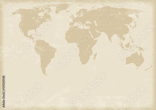 Aluminium Wereldkaarten Ancient world map. Vector