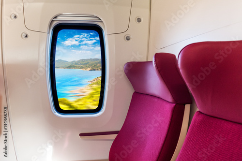 Foto op Plexiglas Bordeaux Mediterranean coast viewed from inside a modern train wagon