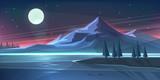 Fototapety Night mountain landscape on lake. Vector illustration