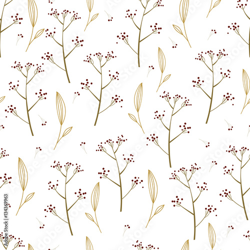 Beautiful Nature seamless pattern with hand drawn delicate plants. Floral vector background. Wrapping paper. - 134369963