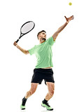 one caucasian  man playing tennis player service serving isolated on white background - 134372337