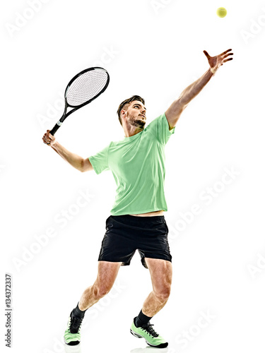 Aluminium Tennis one caucasian man playing tennis player service serving isolated on white background
