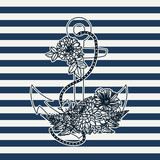 Floral hand drawn anchor