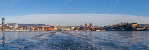 Panoramic view on Oslo fortress and the harbor. Poster
