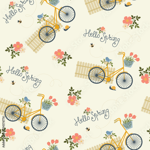 Cotton fabric Spring floral seamless pattern