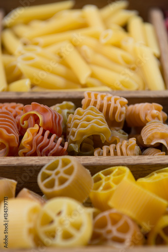 Poster Variety of types, colors and shapes of Italian pasta. Dry pasta