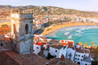 Leinwanddruck Bild - Spain. Valencia,  Peniscola. View of the sea from a height of Pope Luna's Castle. The medieval castle of the Knights Templar on the beach. Beautiful view of the sea and the bay. Mediterranean Sea.