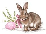 Easter rabbit bunny engrave illustration vintage graphic