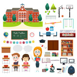 School Education Related Infographics Elements