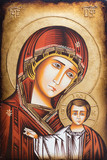 Bratislava, Slovakia, 2017/01/23. Byzantine icon of Mary the Mother of God with her son Jesus blessing with his hand. The icon is found in a private chapel. - 134404312