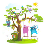 Tree friends animals birds monsters bees in sunny summer nature kids cartoon