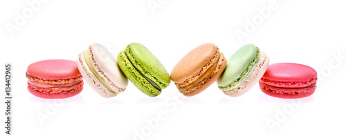 Fotobehang Macarons colourful macarons on white background