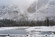 Bridaveil Fa;;s viewed from Northside drive during a winter storm in Yosemite
