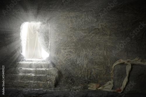 Jesus Leaving Empty Tomb