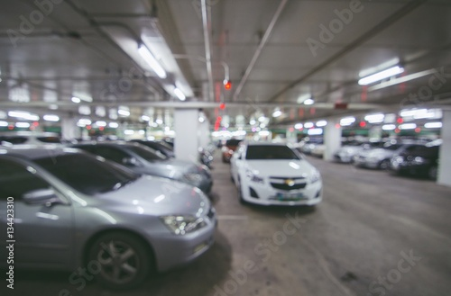 Foto op Canvas Stadion Abstract blur parking car indoor for background, Color tone effect.