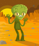 green angry martian alien on mars