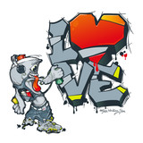 Spray paint for graffiti writes greetings. Valentine in graffiti style