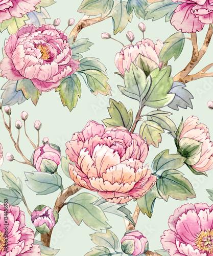 fototapeta na ścianę Watercolor floral chinese pattern