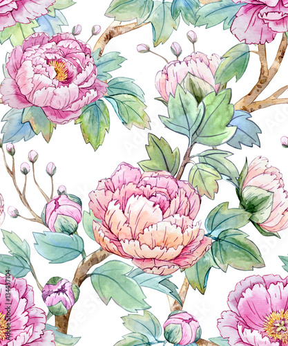 Watercolor floral chinese pattern - 134437104