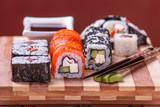 Various sushi and sashimi