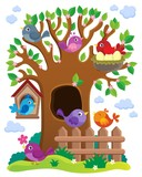 Tree with stylized birds theme image 1