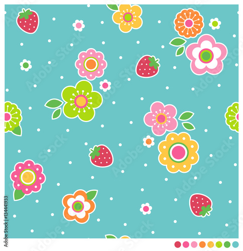 Fototapeta Seamless of cute flower and strawberry vector pattern with dot background