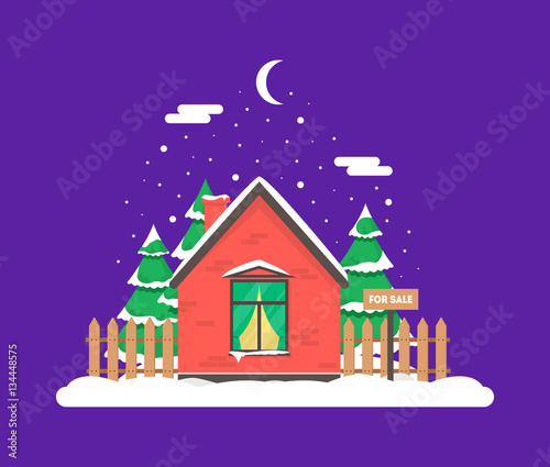 Foto op Canvas Violet Winter night scene with house, Christmas trees and snowfall. Holiday frozen background for decoration card, invitation, greeting, poster, postcard. Real estate snowy concept. Village in December time.