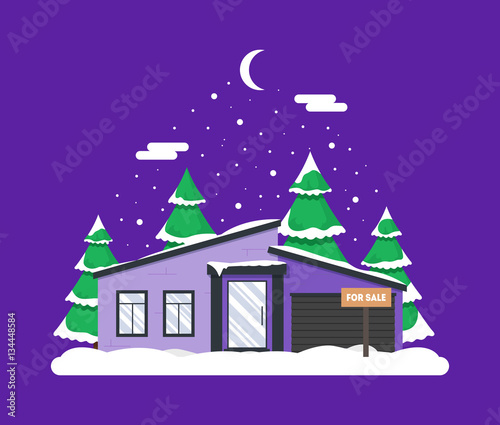 Fotobehang Violet Winter night scene with house, Christmas trees and snowfall. Holiday frozen background for decoration card, invitation, greeting, poster, postcard. Real estate snowy concept. Village in December time.