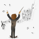 Magic of music. Conductor. The composition for the design of advertising leaflets, illustrations, concert programs, announcement of performances in magazines, Newspapers, websites.