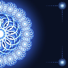 Cover with abstract fractal flower on blue background. Vector illustration 10 EPS