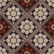 seamless geometric pattern, beige  and brown  rhombus with  unusual flowers - 134469965