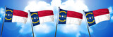 north carolina flag, 3D rendering, on a cloud background