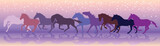 Vector background with horses run at a gallop - 134495302