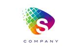 Letter S Colourful Rainbow Logo Design. - 134496782