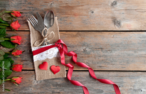 Valentines day meal setting