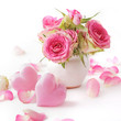 pink hearts and rose flowers in a vase. valentines day