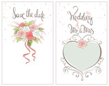 Save the date, wedding invitation card / Classic vector ornaments for invitation with bride