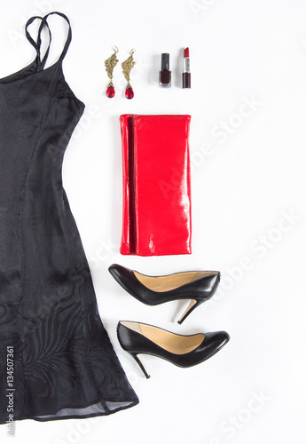 Poster Evening dress outfit, night out look on white background