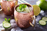Moscow mule cocktail with lime and cucumber