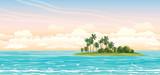 Coconat island in the sea. Vector seascape. - 134509723