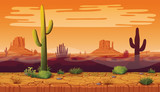 Fototapety Seamless background of landscape with desert and cactus.