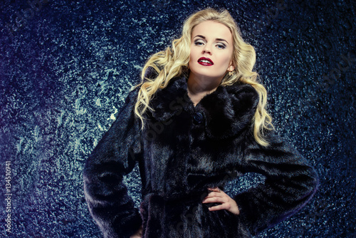 Billede lady in mink fur coat