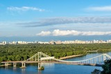 Kiev City, landscape, view of the bridge from above. Beautiful views of the Dnipro River, Texture clouds and foliage.