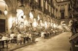 Night illumination of Royal square in Barcelona