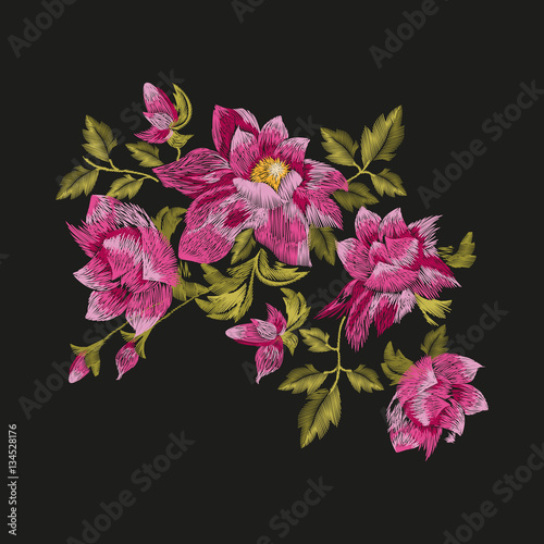 Embroidery colorful floral pattern. Vector traditional folk golden-daisy bush flowers ornament on black background. - 134528176