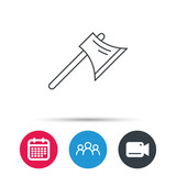 Axe icon. Worker equipment sign. Steel weapon symbol. Group of people, video cam and calendar icons. Vector
