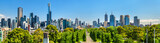 Fototapeta Panorama of Melbourne from Kings Domain parklands - Australia