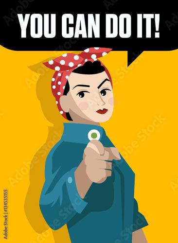 Fotobehang Vintage Poster poster feminism feminist worker girl